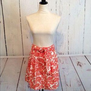 J. Crew Brushstroke Rose Orange Cream Cotton Skirt
